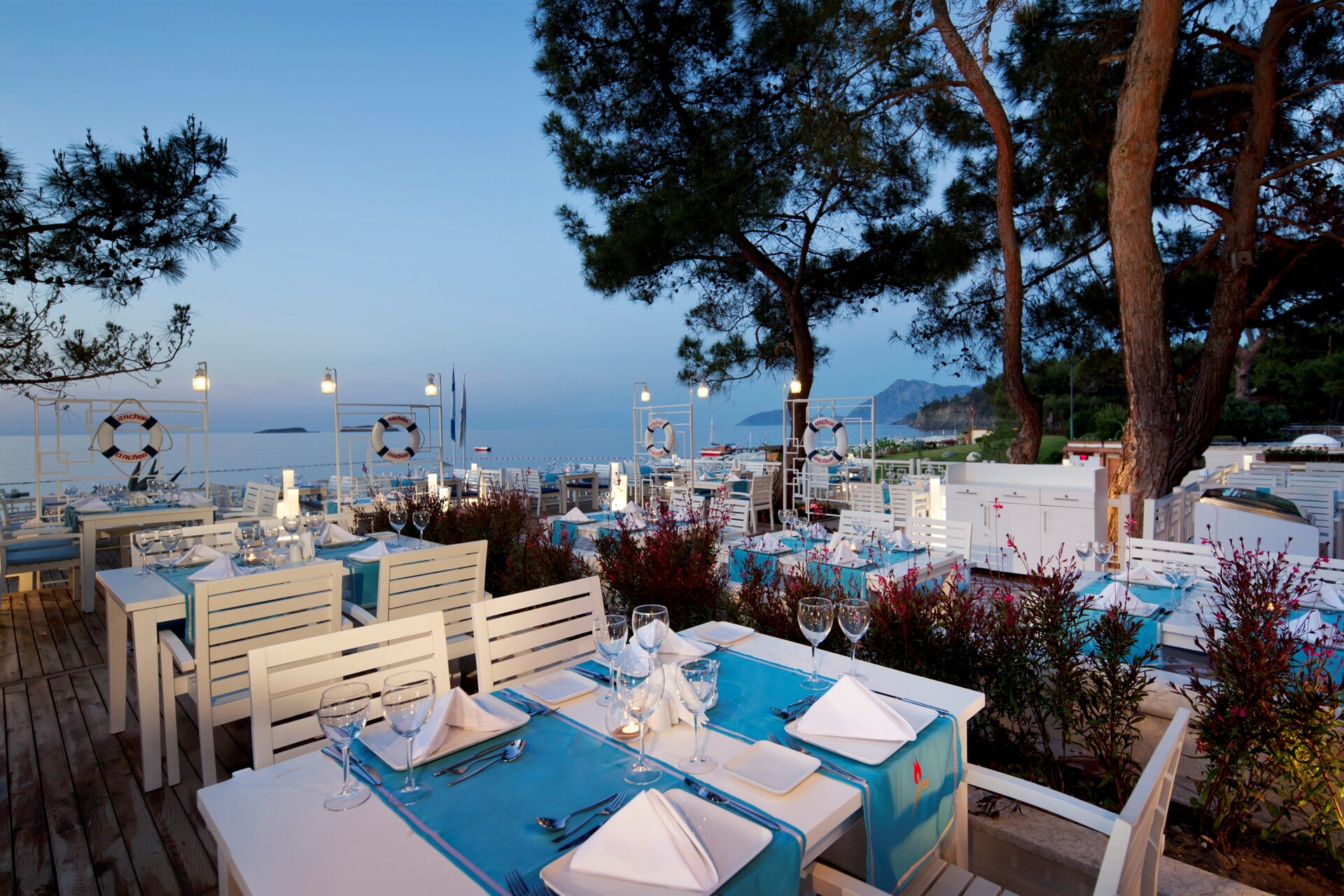 Seasonal fish and seafood meu accompanied by a romantic landspace will add color to your evenings.